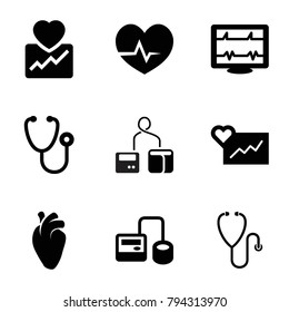 Cardiology icons. set of 9 editable filled cardiology icons such as cardiogram, heartbeat, stethoscope, blod pressure tool