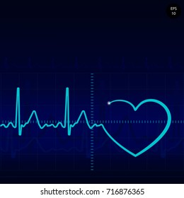 Cardiology illustration with pulse rate diagram. vector. Healthcare. medical background with heart cardiogram