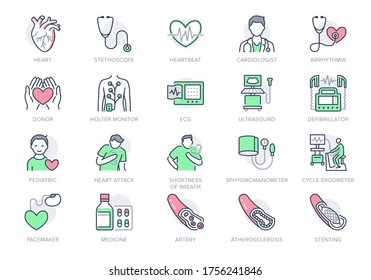 Cardiology line icons. Vector illustration included icon as heart attack, ecg, doctor, pacemaker, defibrillator outline pictogram for cardiovascular clinic. Editable Stroke, Green Color.