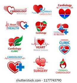 Cardiology medicine, cardiologist medical group or heart health clinic and research institute icons. Vector design of cardiogram pulse treatment pills or pharmacy cross and green leaf