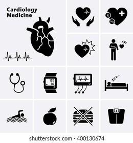 Cardiology Medicine Icons. Cardiovascular Diseases. Vector set
