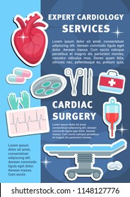 Cardiology medicine poster for heart health clinic and medical surgery. Vector design of cardiologist operating table, blood dropper or syringe and treatment pills with cardiogram