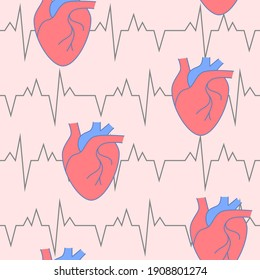 Cardiology seamless pattern with heart symbol in line style. Medical repeatable background. Vector illustration.