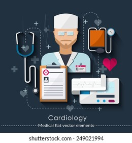 Cardiology set in flat style. Healthcare and medical concept.  Vector illustration