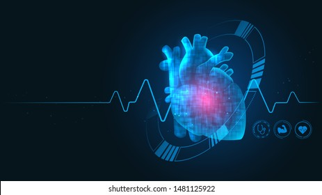 Cardiology technology concept health care with medical icons