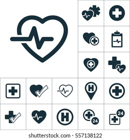 cardiology wave monitor heart icon, medical signs set on white background