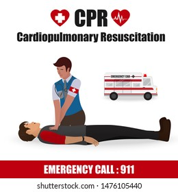 Cardiopulmonary Resuscitation (CPR) Label Sign for Emergency First Aid Rescue Process on Human Heart Attack Man , One Part of the Important Process Resuscitation