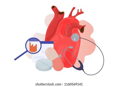 Cardiovascular or cardio disease awareness vector illustration. High cholesterol awareness poster or banner. Great also for World Heart Day. Modern Heart Medication solution.