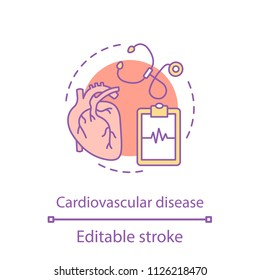 Cardiovascular disease concept icon. Cardiology idea thin line illustration. Healthcare. Vector isolated outline drawing. Editable stroke