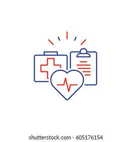Cardiovascular disease prevention program, heart diagnostic, medical insurance policy concept logo, medicine protection, check up clip board, suite of services, vector mono line icon
