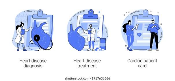 Abstraktes Konzept für Herz-Kreislauf-Erkrankungen, Vektorgrafik-Set. Diagnose und Behandlung von Herzkrankheiten, kardiale Patientenkarte, Herzschlag und Brustschmerzen, Stresstest, abstrakte Metapher im Krankenhaus.