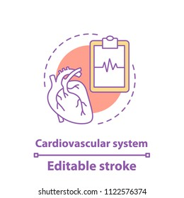 Cardiovascular system concept icon. Cardiology idea thin line illustration. Healthcare. Human heart anatomy. Vector isolated outline drawing. Editable stroke