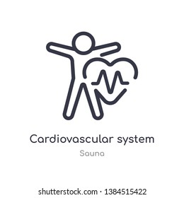 cardiovascular system outline icon. isolated line vector illustration from sauna collection. editable thin stroke cardiovascular system icon on white background