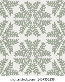 Cardoon thistle leaves seamless repeat vector pattern swatch.  Botanical Damask.  Faded flat colors.