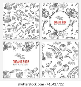 Cards, banners with hand drawn sketch vegetables, mushrooms, olive, peppers, onion isolated on white, vector seamless pattern for used in organic food industry, healthy market, restaurant menu