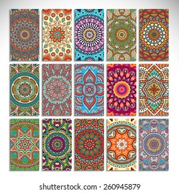 Cards collection. Vintage decorative elements. Hand drawn background. Islam, Arabic, Indian, ottoman motifs.