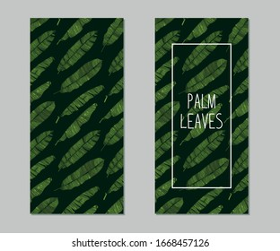 Cards with hand drawn sketch style banana leaves. Tropical label with palm leaves on dark green background. Color illustration.