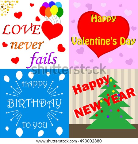 Cards Happy Valentines Day Happy Birthday Stock Vector Royalty Free