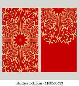 Cards or Invitations set with mandala ornament. Vector illustration. For wedding, bridal, Valentine's day, greeting card invitation.