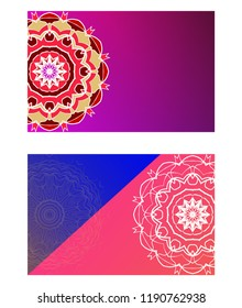 Cards or Invitations set with mandala ornament. Vector illustration. For wedding, bridal, Valentine's day, greeting card invitation