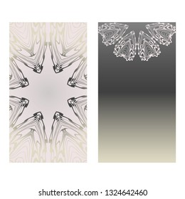 Cards Or Invitations Set With Mandala Ornament. Vector Illustration. For Wedding, Bridal, Valentine's Day, Greeting Card Invitation. Grey color.