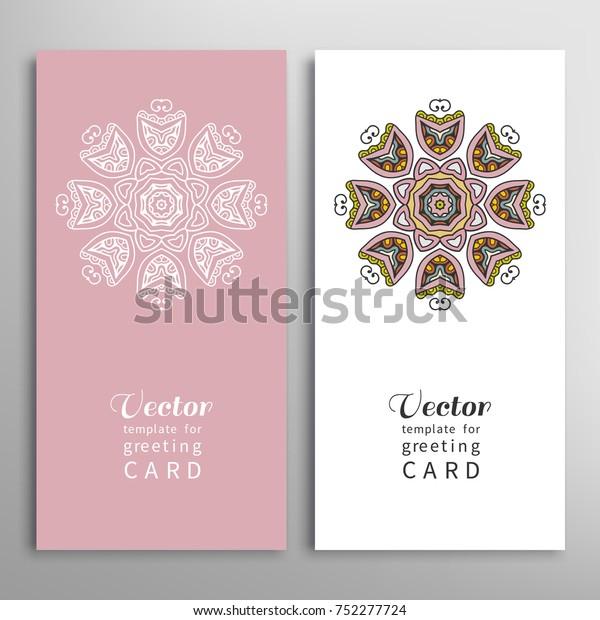 Cards Invitations Set Tribal Ethnic Mandala Stock Vector