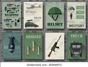 Cards of military equipment cards. Army template of flyear, Magazines, posters, book concept. Special forces items on grunge background. Layout illustrations pages with typography text