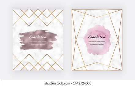Cards with pink watercolor and rose gold foil brush stroke texture, polygonal lines, frame on the marble texture. Trendy templates for banner, flyer, poster, greeting, wedding invitation
