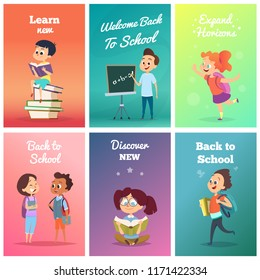 Cards with pupils. Design template of cards with school characters. Vector back to school, discover new and learn illustration