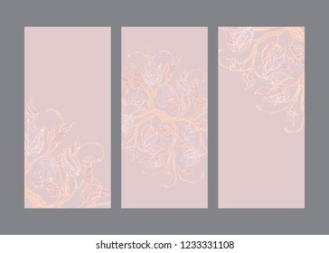 Cards set with cream vintage floral ornaments