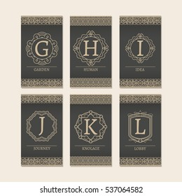 Cards set with monogram logos and borders. Letters G-L vector illustration.