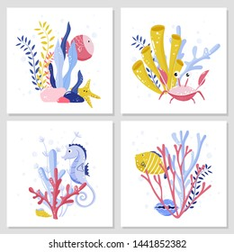 Cards set with underwater sea animals, creatures, plants, seaweeds, crab, seahorse, fishes, shells. Vector illustration.