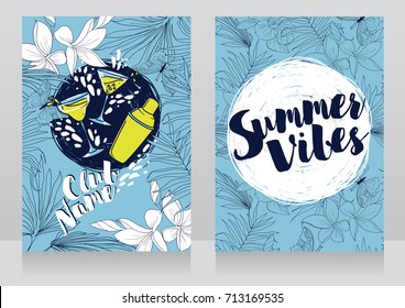 cards for summer cocktail party, invitations in trendy tropical style, blue and yellow colors, vector illustration