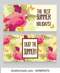 cards for summer holidays, can be used as invitation for summer party, vector illustration