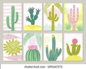 Cards template with pictures of cactuses. Vector cactus with flower in retro colored, tropical plant illustration