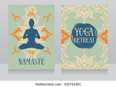 cards template for yoga retreat or yoga studio, can be used for buddhism religious organization, vector illustration