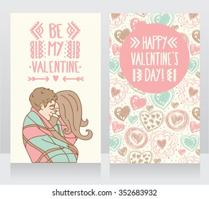 cards for valentine's day with kissing couple and hand drawn hearts ornament, vector illustration