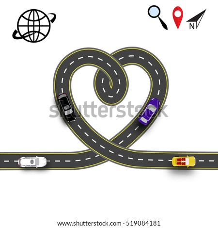 Cards Valentines Day Trips By Car Stock Vector Royalty Free