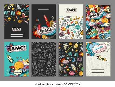 Cards vector template illustration of space. Moon, planet, rocket, earth, cosmonaut, comet universe Classification milky way cosmos