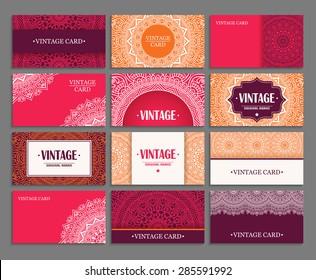 Cards. Vintage decorative elements. Hand drawn background. Islam, Arabic, Indian, ottoman motifs.