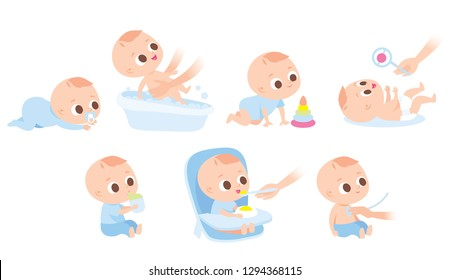 Care about infant baby. Set of baby  characters,