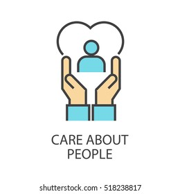 Care about people vector icon that shows concept such as nurturing, support, can be use for personal or commercial use