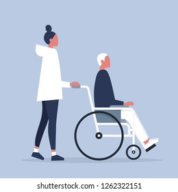 Care and assistance. Young disabled male character sitting in a wheelchair. Disability. Daily life. Flat editable vector illustration, clip art