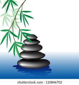 care, bamboo leaves and stones Zen, vector background