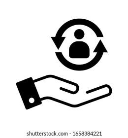 care customer icon, total inclusive service on white background