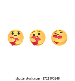 Care Emoji Popular Social Media New emoji We are in this together design isolated vector file. Round Yellow cartoon hugging heart love design for use in chat, email, massage and comment.