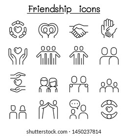 Care & Friendship icon set in thin line style
