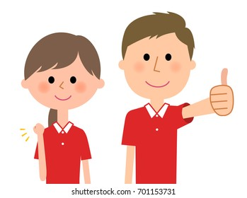 Care giver,Nursing assistant,Victory Pause and Thumbs up