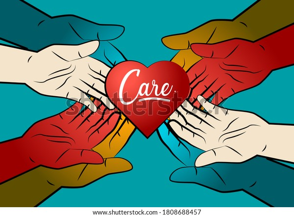 care and humanity background with hands illustration for help and charity symbol