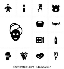 Care icon. collection of 13 care filled icons such as pig, baby bottle, hair removal, lipstick, eyeshadow palette, spa mask. editable care icons for web and mobile.